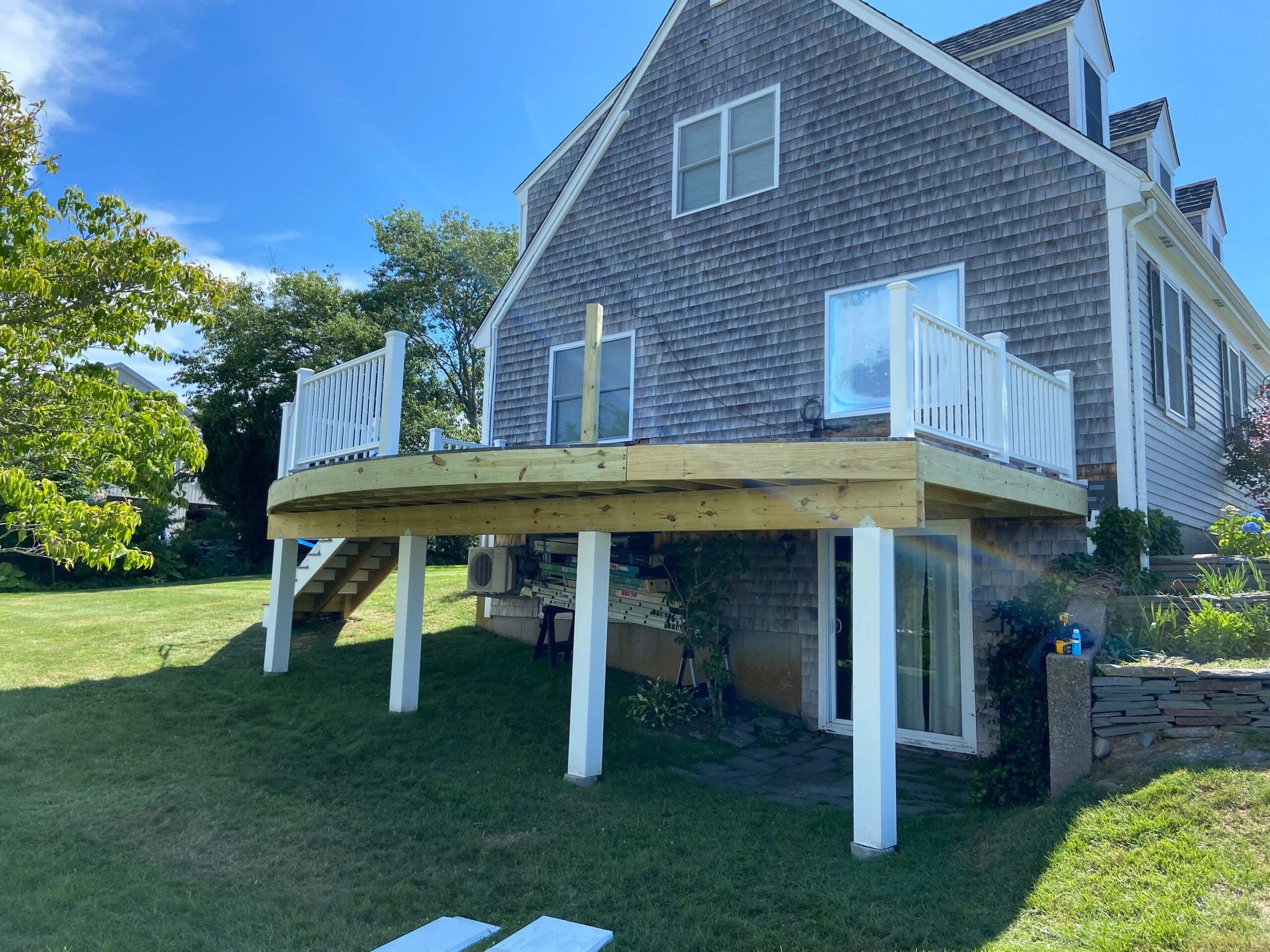 a deck being repaired by bruno painting in rhode island